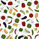 Vector seamless retro drawing of vegetables. Can be used for web page background, fills drawings, wallpapers, surface Royalty Free Stock Photography