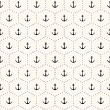Vector seamless retro pattern with anchors Royalty Free Stock Images