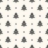 Vector seamless retro pattern, christmas trees Stock Images
