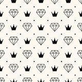Vector seamless retro pattern, with diamonds. Stock Image