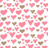 Vector seamless retro pattern, polka dot with hearts. Can be used for wallpaper, pattern fills, web page background,surface. Vector seamless retro pattern polka stock illustration