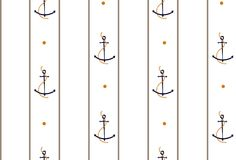 Vector seamless retro pattern, rope with anchors. Can be used fo Royalty Free Stock Image