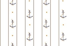 Vector seamless retro pattern, rope with anchors. Can be used fo Stock Photography