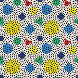 Vector Seamless Retro 80's Jumble Black Ellipses And Color Polygons Pattern on  White Background Royalty Free Stock Image