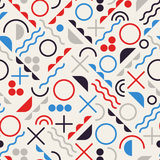 Vector Seamless Retro 80's  Jumble Geometric Line Shapes Blue Red Color Hipster Pattern on Grey Background. Vector Seamless Retro 80's  Jumble Geometric Line Royalty Free Stock Image