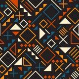 Vector Seamless Retro 80's  Jumble Geometric Line Shapes Tela Orange Color Pattern on Black Background Stock Images