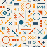 Vector Seamless Retro 80's  Jumble Geometric Line Shapes Tela Orange Color Pattern on White Background Stock Photos