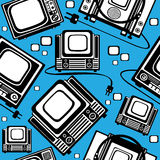 Vector seamless retro tv Royalty Free Stock Images