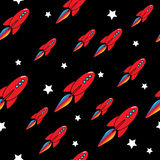 Vector seamless rocket pattern Royalty Free Stock Images