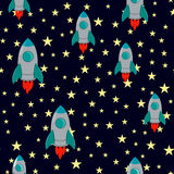 Vector Seamless Rocket and Stars Pattern with Cartoon rocket with stars on dark blue background in flat style. Royalty Free Stock Photography