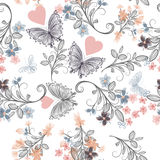 Vector seamless rustic wallpaper pattern with florals and butter Royalty Free Stock Image