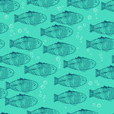 Vector seamless scales pattern with hand draw blue fishes Royalty Free Stock Photography
