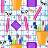 Vector seamless school pattern. Cute kawaii children print, texture. Back to school. Squared list paper vector illustration