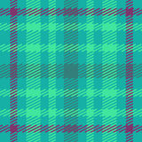 Vector seamless scottish tartan pattern in blue, green, turquoise and violet. Royalty Free Stock Image