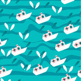 Vector seamless sea pattern with fish and sea Royalty Free Stock Photography