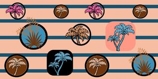 Vector seamless sea pattern with palm trees on striped background. Tropical Pattern. Stock Images