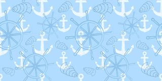Vector seamless sea pattern with ship`s wheel, anchor. Cartoon print. Vector illustration. Scrapbook paper, wrapping paper Stock Images