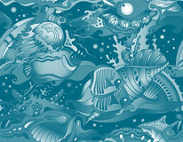 Vector seamless sea pattern with tropical fishes, stars Stock Photography