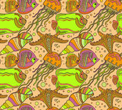 Vector seamless sea pattern with tropical fishes Royalty Free Stock Images