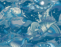 Vector seamless sea pattern with tropical fishes, stars Stock Photos
