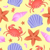 Vector seamless sea theme pattern. Crab, fish star and shell on yellow background Royalty Free Stock Photography