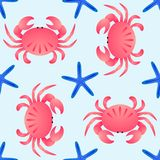 Vector seamless sea theme pattern. Crabs and sea stars on blue background Stock Photography