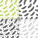 Vector Seamless set of Floral Pattern. Hand Drawn Floral Texture, Decorative Leaves, Coloring Book eps8. Vector Seamless Contour Floral Pattern. Hand Drawn Royalty Free Stock Photos