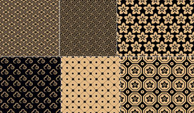 Vector Seamless Set Japanese Pattern With Graphic Elements For