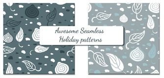 Set of two winter patterns vector illustration