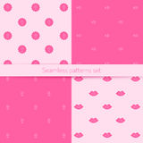 Vector seamless set with pink lettering, suitable for printing on a variety of surfaces Royalty Free Stock Photo