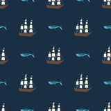 Vector seamless ship and whale pattern. Ocean or sea background Stock Photo