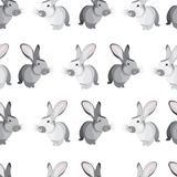 Vector seamless simple pattern with cute rabbits gray and white. Easter holiday white background for printing on fabric, paper for scrapbooking, gift wrap and Vector Illustration
