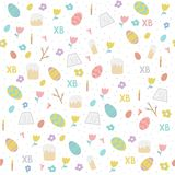 Easter pattern. Vector seamless simple pattern with eggs, easter cake, willow, candle, tulips . Orthodox Easter holiday colorful background for printing on stock illustration