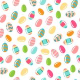 Pattern with ornamental eggs. Vector seamless simple pattern with ornamental eggs. Easter holiday colorful background for printing on fabric, paper for Royalty Free Stock Images