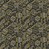 Vector seamless simple pattern with ornamental eggs. Easter holiday green background for printing on fabric, paper for Stock Photography
