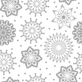 Vector seamless snowflake pattern white and gray color Stock Images