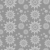 Vector seamless snowflake pattern white and gray color Stock Image
