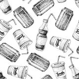 Vector seamless soda drawing pattern Stock Photography