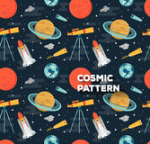 Vector seamless space pattern in flat style. Seamless space pattern in flat style with planets of solar system, rockets and Telescope. Childish background Royalty Free Stock Photography