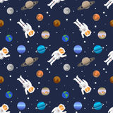 Vector seamless space pattern with planets of Solar system. And astronauts Stock Photo