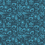 Vector seamless space pattern with spaceships and planets. Vector seamless space pattern with spaceships, planets and astronauts helmets Royalty Free Stock Photo