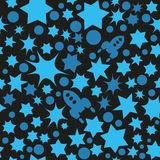 Vector seamless space pattern with star, dots and rockets. Retro print background. Chaotic elements, Effect of sky. Abstract textu. Vector seamless space pattern Stock Photos