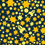 Vector seamless space pattern with star, dots and rockets. Retro print background. Chaotic elements, Effect of sky. Abstract textu. Vector seamless space pattern Stock Photo