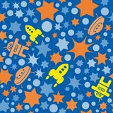 Vector seamless space pattern with star, dots and rockets. Retro print background. Chaotic elements, Effect of sky. Abstract textu. Vector seamless space pattern Royalty Free Stock Image