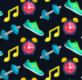 Vector seamless sport fitness pattern in trendy flat style. Royalty Free Stock Photography