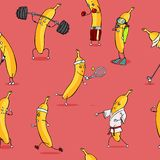Vector Seamless Sport Pattern of Banana Characters