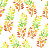 Vector Seamless Spring Pattern with Watercolor Branches Royalty Free Stock Photos
