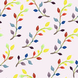 Vector Seamless Spring Pattern with Watercolor Branches Stock Images