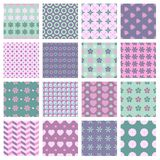 Vector 16 seamless spring patterns. Vector set of 16 seamless patterns in soft spring colors Royalty Free Stock Photos
