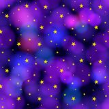 Vector Seamless Starry Sky, Galaxy Colorful Background, Wrapping Paper. stock illustration